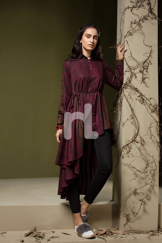 Maroon Printed Stitched Linen Shirt - 1PC