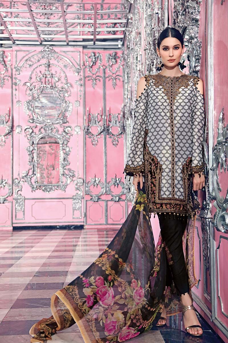 Stitched Suit - 4 PC Net Jacquard