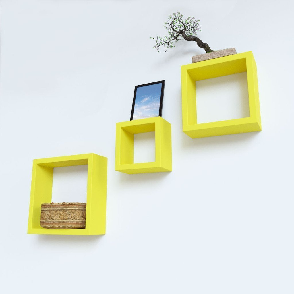 Mamta Decoration Wall Shelf Set of 3 Nesting Square Shelves - Yellow ...