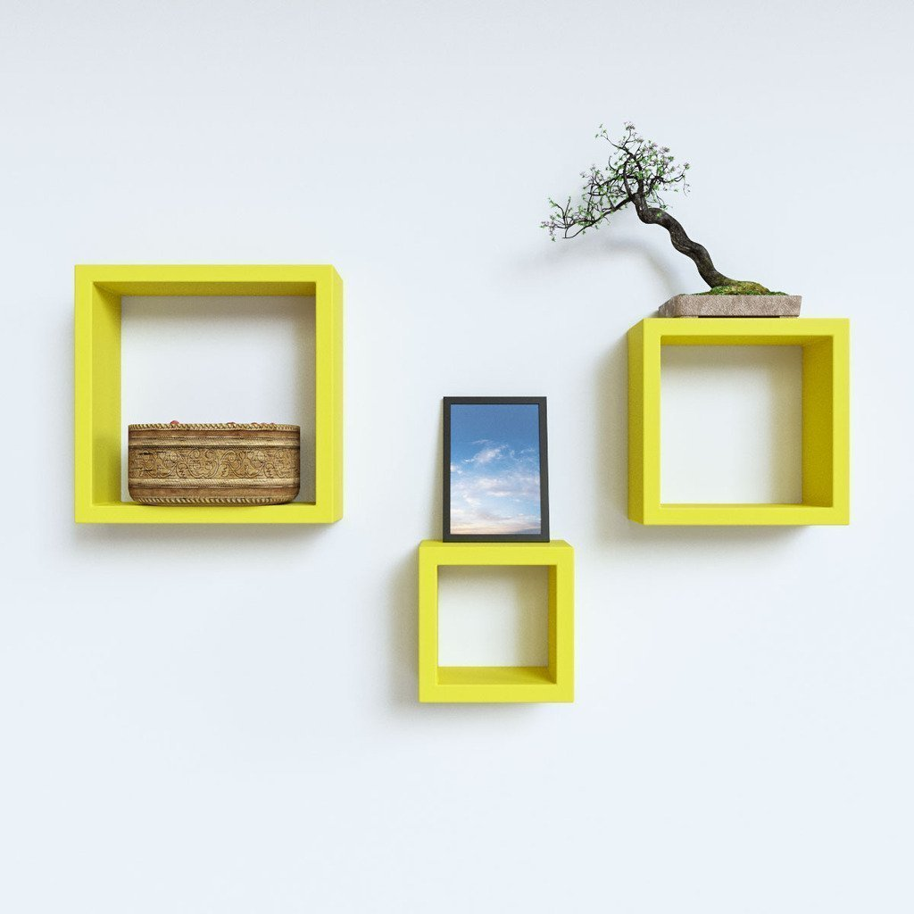 ... Mamta Decoration Wall Shelf Set Of 3 Nesting Square Shelves   Yellow  MTP892 ...