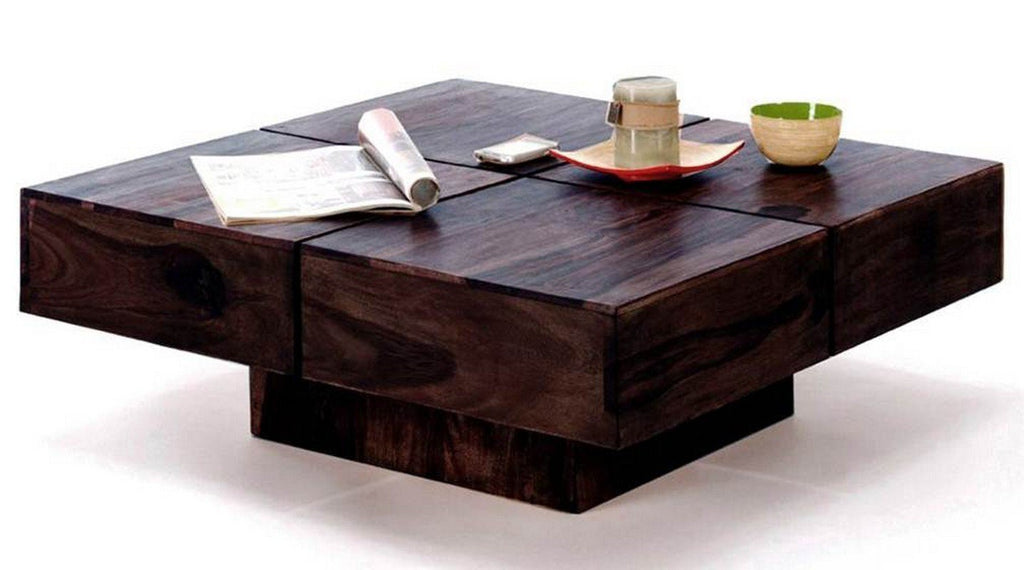 ... Mamta Decoration Sheesham Wooden Square Coffee Table For Living Room   Dark  Walnut ...