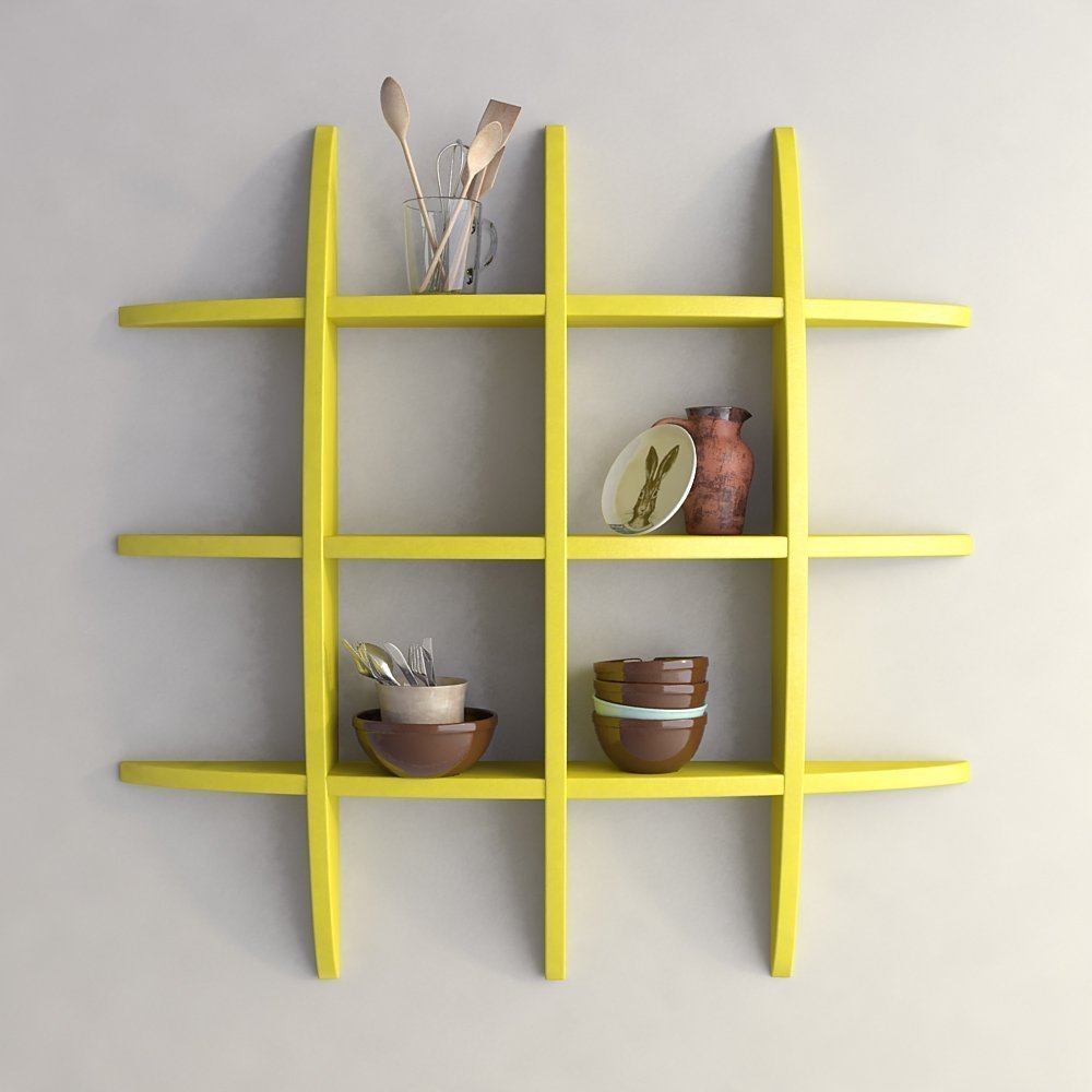 ... Mamta Decoration Wall Shelf Rack Globe Shape Storage Wall Shelves  Floating Wall Shelf  Yellow MTP ...