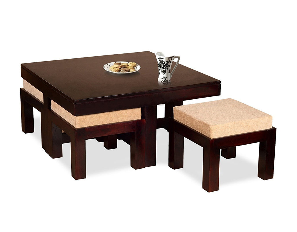 ... Mamta Decoration Wooden Coffee Table With 4 Stools For Living Room    Mahogany Finish, Cream ...