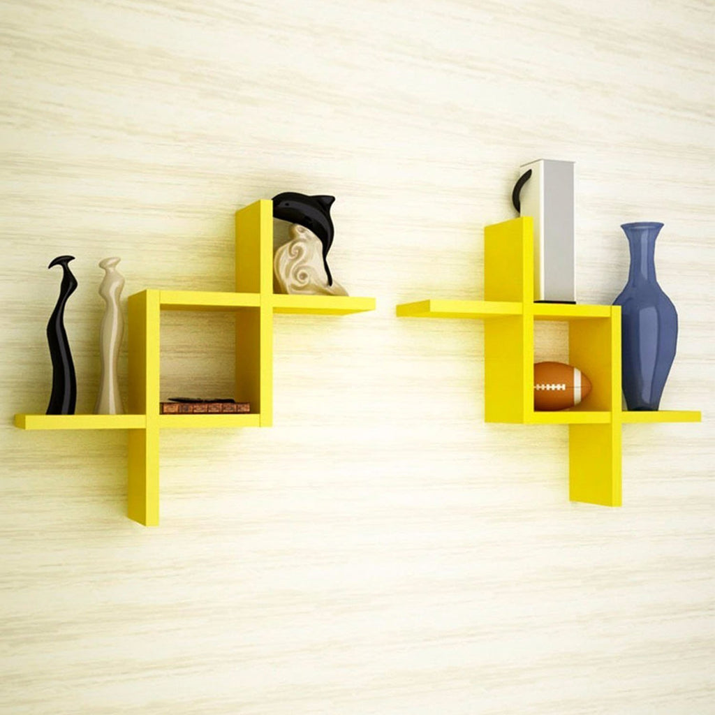 Mamta Decoration Wooden Wall Shelf Set of 2 Shelves - Yellow MWWS-01 ...