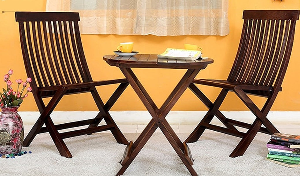 ... Mamta Decoration Set Of 3 Piece Dining Set Cappuccino Folding Chair And  Round Table (Walnut ...