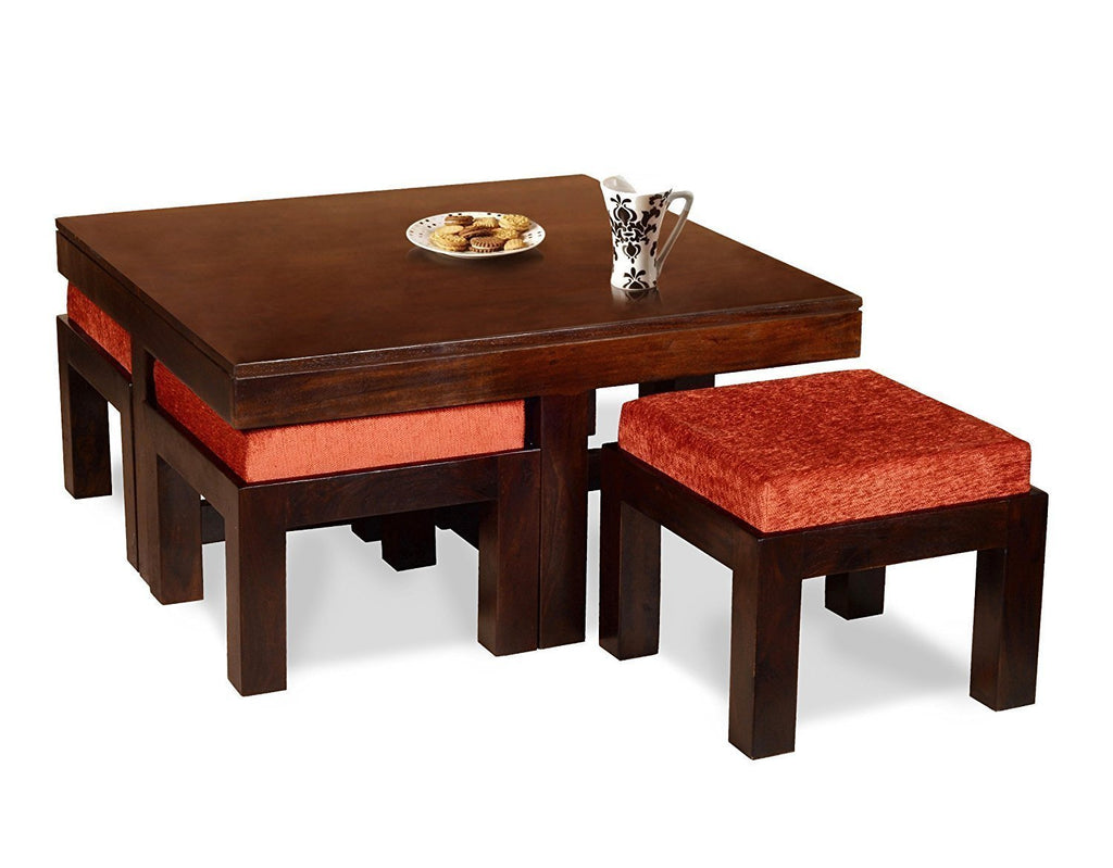 wooden end tables. Mamta Decoration Wooden Coffee Table With 4 Stools For Living Room - Walnut Finish, Light End Tables L
