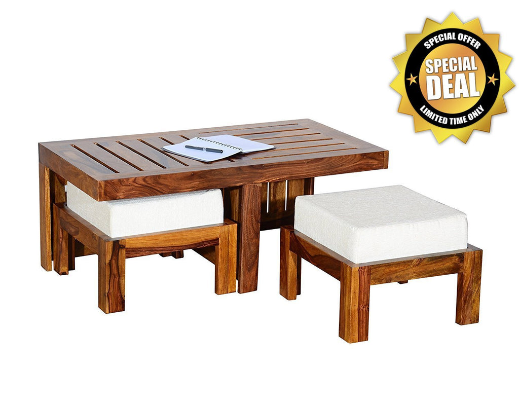 ... Mamta Decoration Wooden Coffee Table With 2 Stools For Living Room    White Cushion) ...