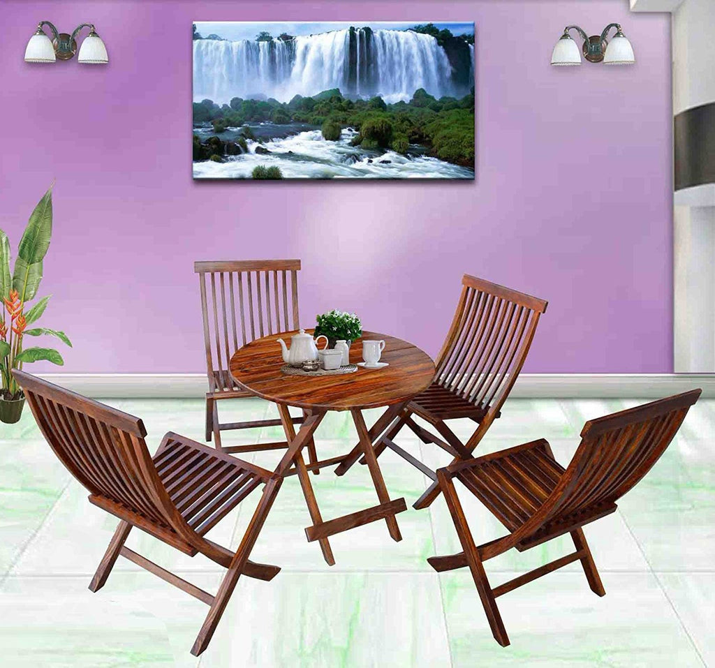 ... Mamta Decoration Set Of 5 Piece Dining Set Cappuccino Folding Chair And  Round Table (Walnut ...