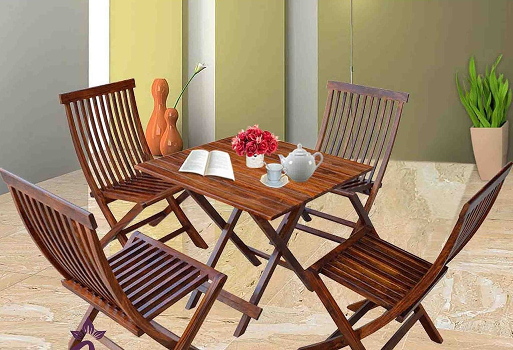 ... Mamta Decoration Rosewood/Sheesham Wood Dining Set Buck Folding Chairs  And Square Table For Living ...