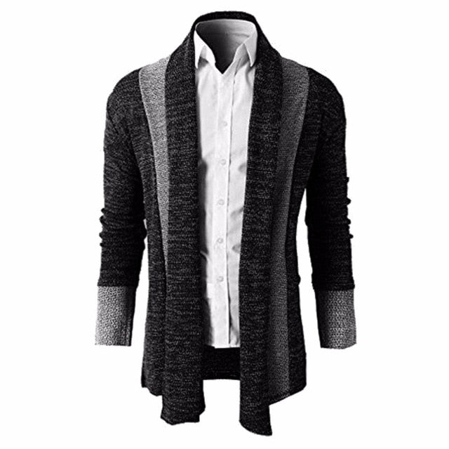 06154847a4 ... 2018 Knitted Cardigan Men Sweater Men Shawl Collar Long Sleeve Open  Front Pull Homme Casual long ...