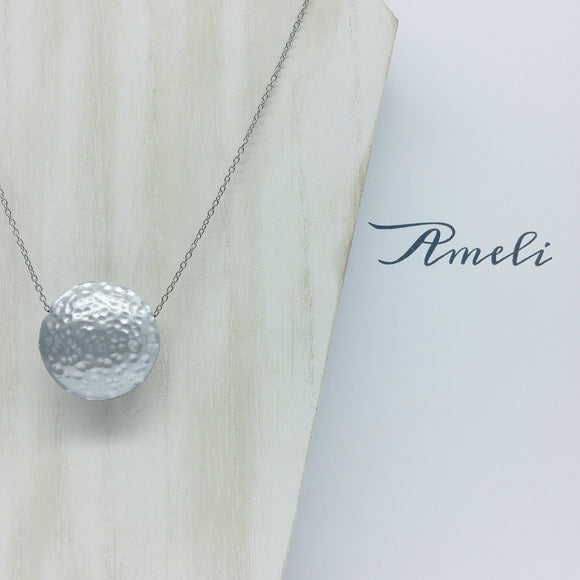 Solo Bubble Necklace in Metallic Effect White Silver - Ameli Jewellery Studio