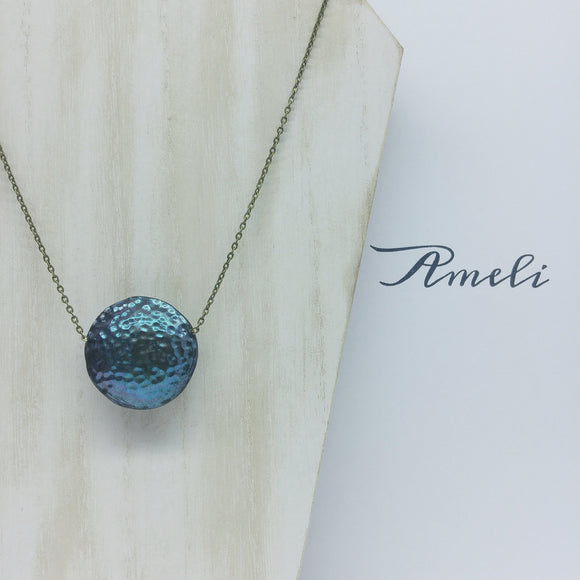 Solo Bubble Necklace in Metallic Effect Peacock Bronze - Ameli Jewellery Studio