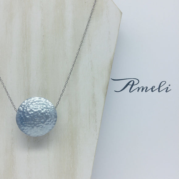 Solo Bubble Necklace in Metallic Effect Baby Blue - Ameli Jewellery Studio