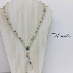 Amazonite Lariat Necklace - Ameli Jewellery Studio