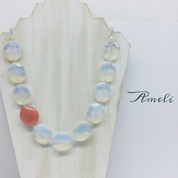 Opalite with Cherry Quartz Accent Matinee Gemstone Necklace - Ameli Jewellery Studio