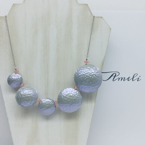 Bubble Necklace in Metallic Effect Iridescent Silver - Ameli Jewellery Studio