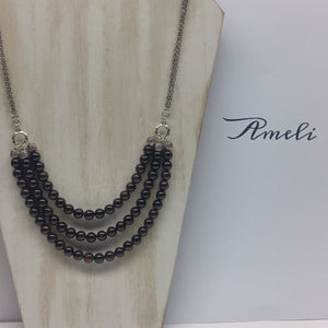 Garnet Bib Necklace - Ameli Jewellery Studio