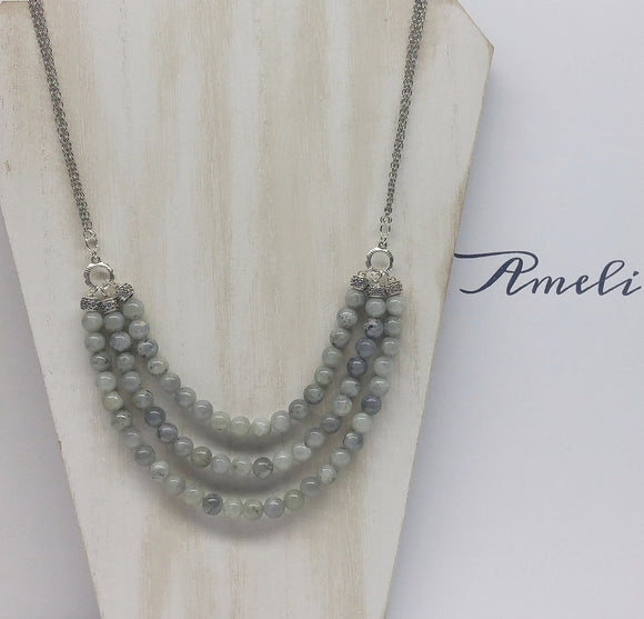Labradorite Bib Necklace - Ameli Jewellery Studio