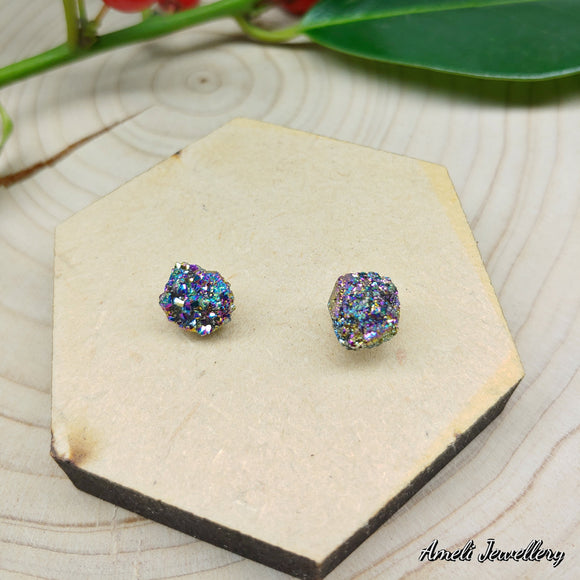 Natural Druzy Nugget Studs - Multiple Colours