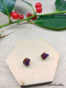 Natural Druzy Nugget Studs - Multiple Colours - Ameli Jewellery Studio