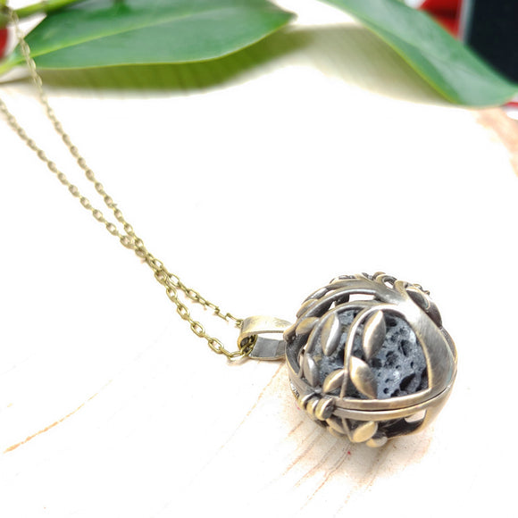 Aromatherapy Ball Diffuser Long Necklace (Brass Tree of Life)