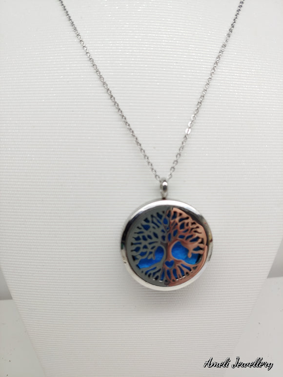 Tree of Life (Heart in the Roots)- Aromatherapy Locket Diffuser Long Necklace