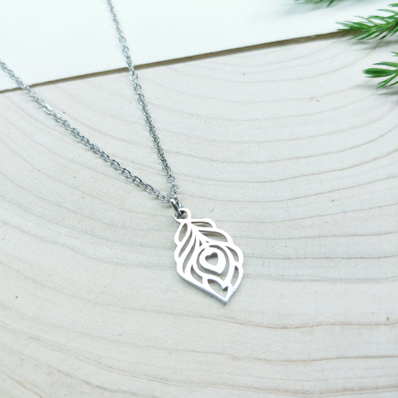 Leaf with Heart Stainless Steel Necklace - Ameli Jewellery Studio