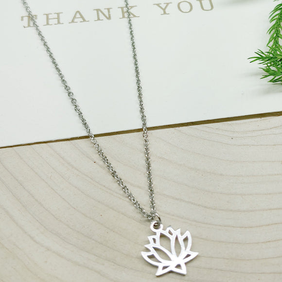 Lotus Flower Stainless Steel Necklace - Ameli Jewellery Studio