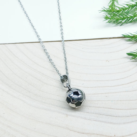 Black & Silver Soccer Ball Stainless Steel Charm and 18