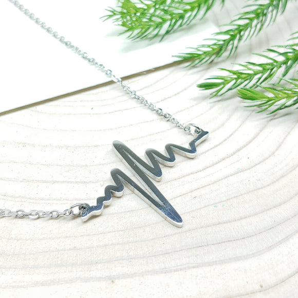 Heart Beat Electrocardiogram (ECG) Stainless Steel Necklace