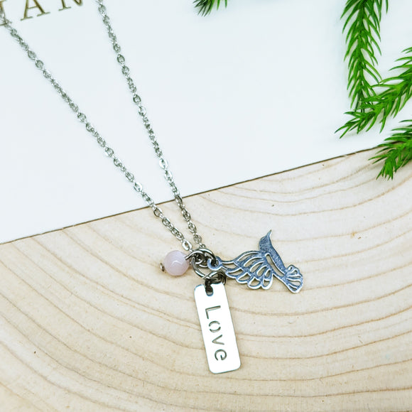 LOVE and DREAM Multiple Charm Stainless Steel Necklace - Ameli Jewellery Studio