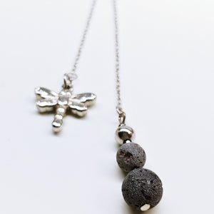 Dragonfly and Lava Rock Diffuser Lariat Stainless Steel Adjustable Length Necklace - Ameli Jewellery Studio