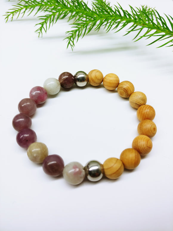 Pastel Gemstone with Sandalwood Affirmation Bracelet - Ameli Jewellery Studio