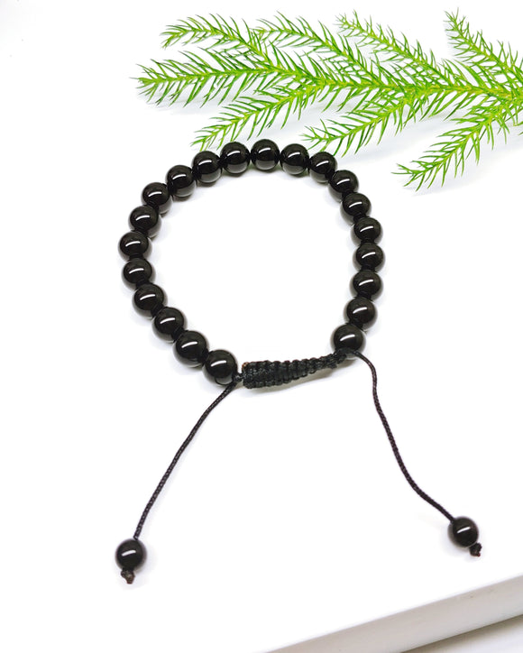 Mens Glossy Black Agate Adjustable Affirmation Bracelet - Ameli Jewellery Studio