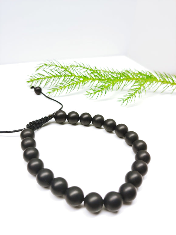 Mens Frosted (Matte) Black Agate Adjustable Affirmation Bracelet - Ameli Jewellery Studio