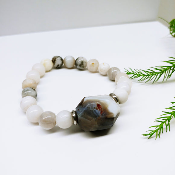 Crazy White Agate with Statement Agate Gemstone Affirmation Bracelet - Ameli Jewellery Studio