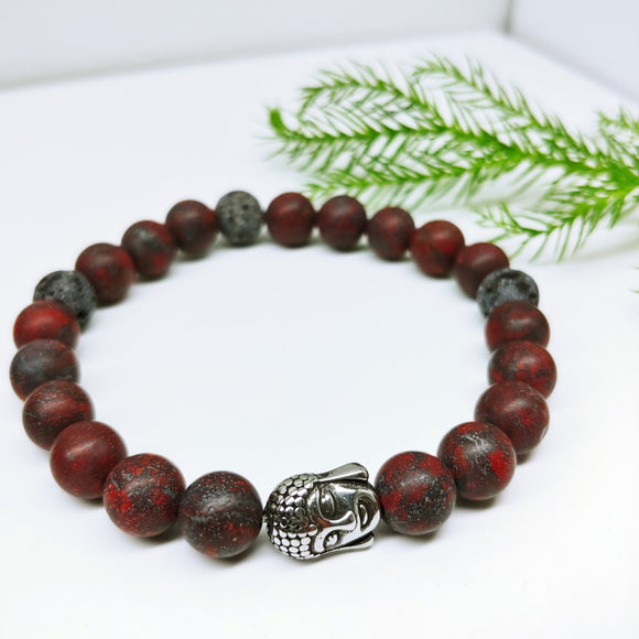 Dark Red Jasper, and Lava Diffuser Gemstone Affirmation Bracelet - Ameli Jewellery Studio