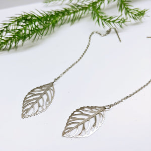 Dangle Pull Through Chain with Leaf Stainless Steel (Threader Earrings) - Ameli Jewellery Studio