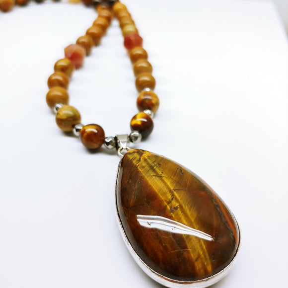 Mala Tigers Eye and Picture Jasper Pendant 29.5