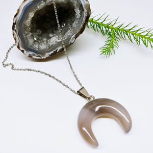 Agate Crescent Moon Stainless Steel Necklace - Ameli Jewellery Studio