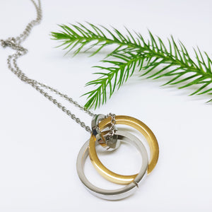 Interlocking Rings Stainless Steel Pendant Necklace - Ameli Jewellery Studio
