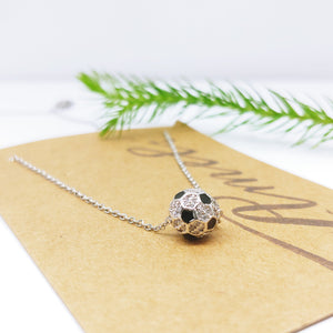 "Cubic Zirconia Soccer Ball Stainless Steel Charm and 18"" Chain Necklace (Free Shipping) - Ameli Jewellery Studio"