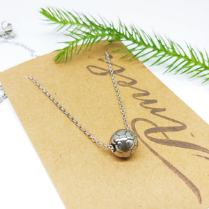"Soccer Ball Stainless Steel Charm and 18"" Chain Necklace (Free Shipping) - Ameli Jewellery Studio"