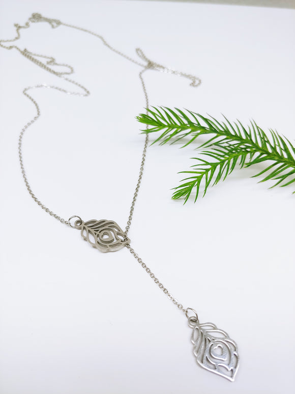 Lariat Leaf with Heart Stainless Steel Necklace - Ameli Jewellery Studio