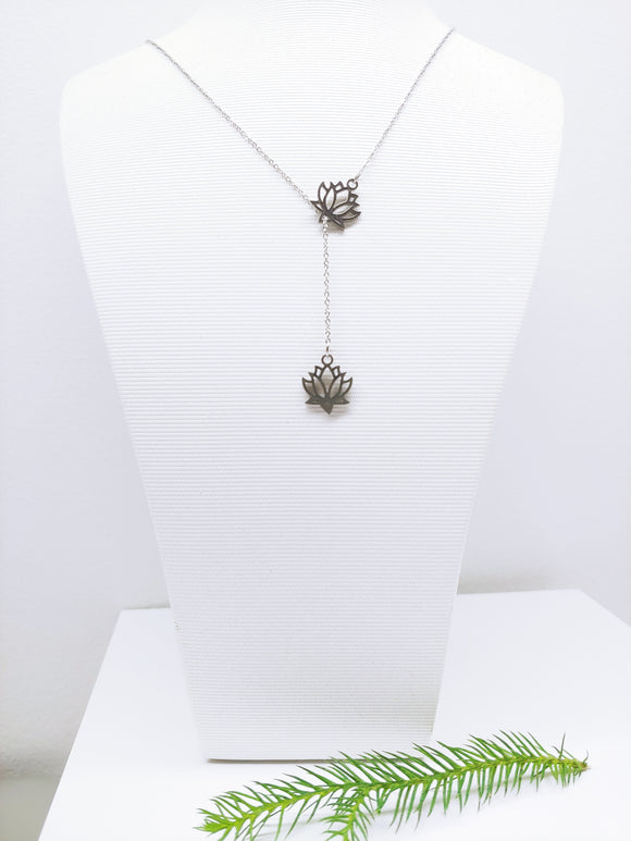 Lariat Lotus Flower Stainless Steel Necklace - Ameli Jewellery Studio
