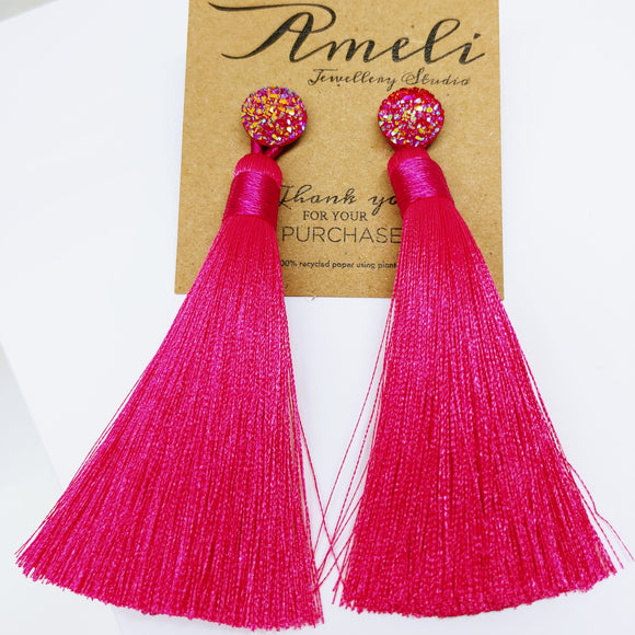 Tassel Earrings with Resin Druzy Effect Studs (Hot Pink) - Ameli Jewellery Studio