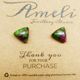 Gemstone Geometric Triangle Studs - Multiple Crystals available (stainless steel or plastic post) - Ameli Jewellery Studio