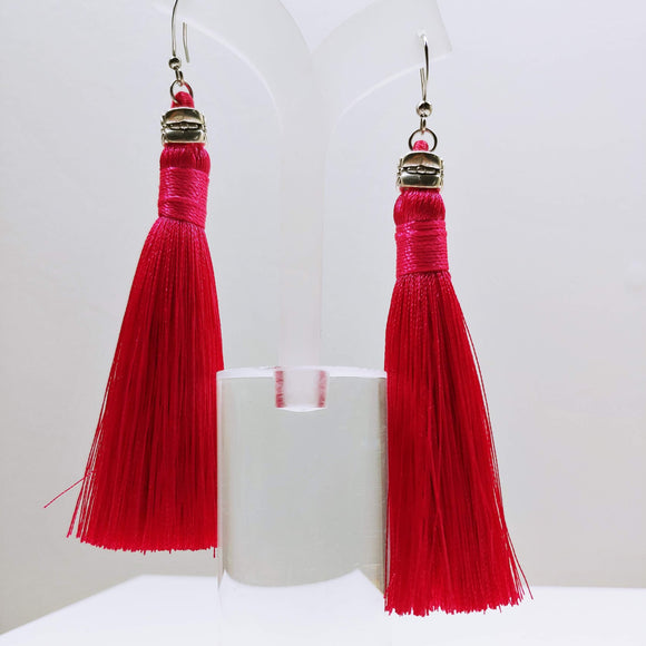 Tassel Dangly Earrings in Hot Pink - Ameli Jewellery Studio