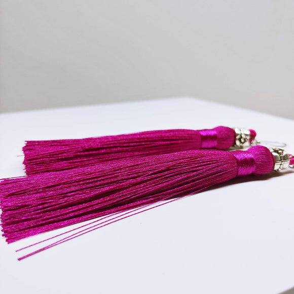 Tassel Dangly Earrings in Magenta - Ameli Jewellery Studio