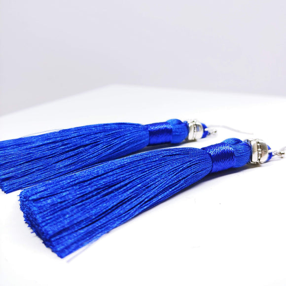 Tassel Dangly Earrings in Royal Blue - Ameli Jewellery Studio